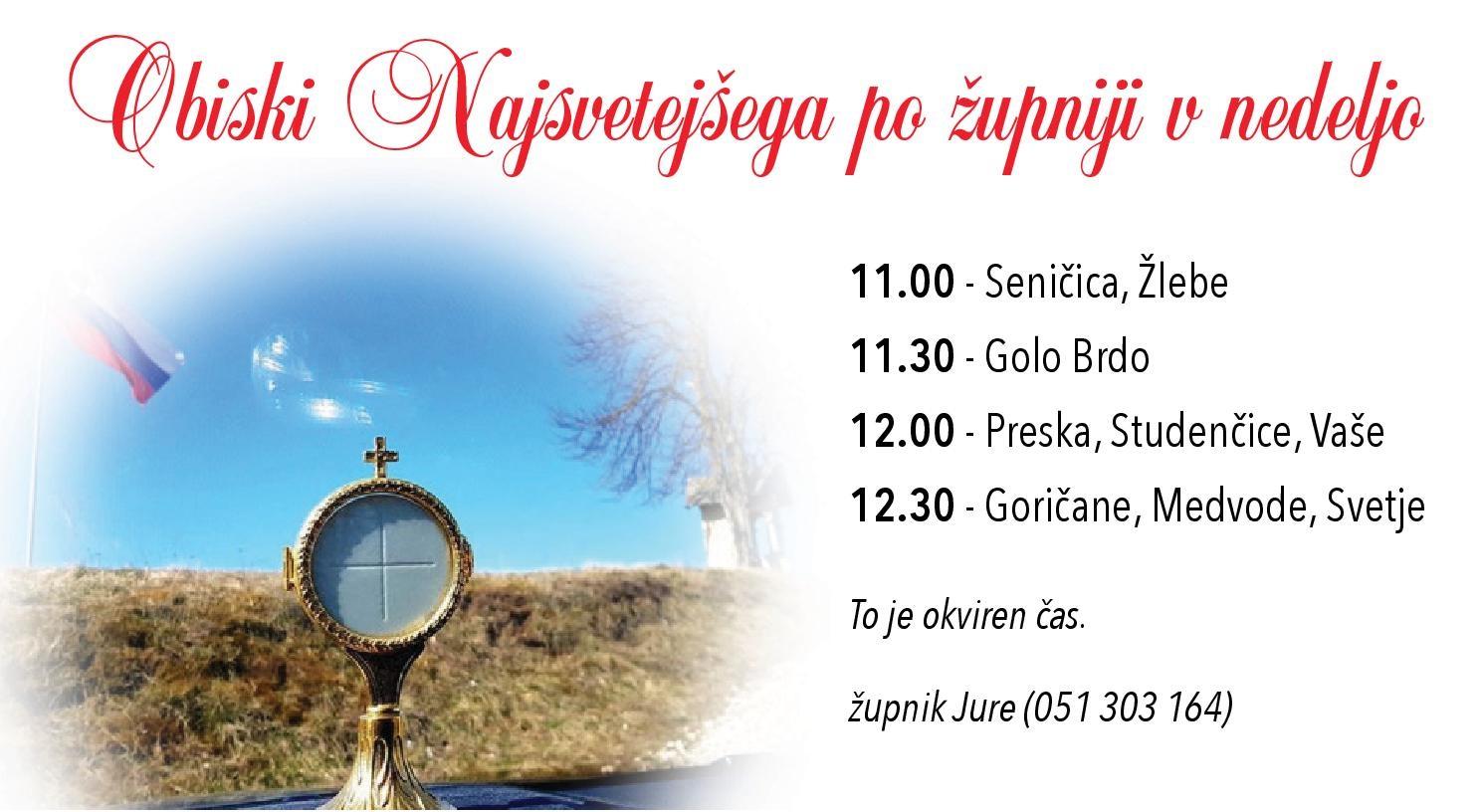 Obisk Jezusa po župniji v nedeljo